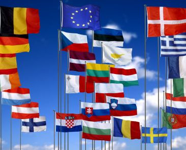 The 25 EU flags fluttering in the sky